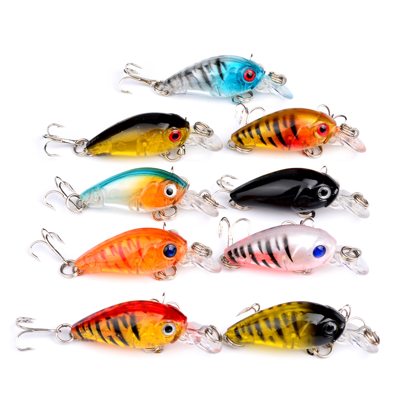 Outdoor Fishing Sports Lifelike 1.8-4.57cm/0.142oz-4.03g Fishing Tackle 9 Color Minnow Fishing Bait 9pcs