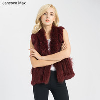 Jancoco Max Ladies Real Fur Vest Rabbit Fur Gilet & Raccoon Collar Trimming Women Winter Fashion Waistcoat S1411