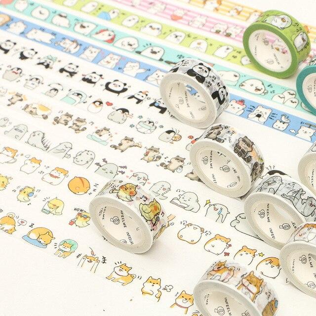 1 Roll 1.5cm*7M Cute Animals Penguin Cat Panda Otter Rabbit Masking Washi Tape Album Scrapbooking Decor Stick Label 3