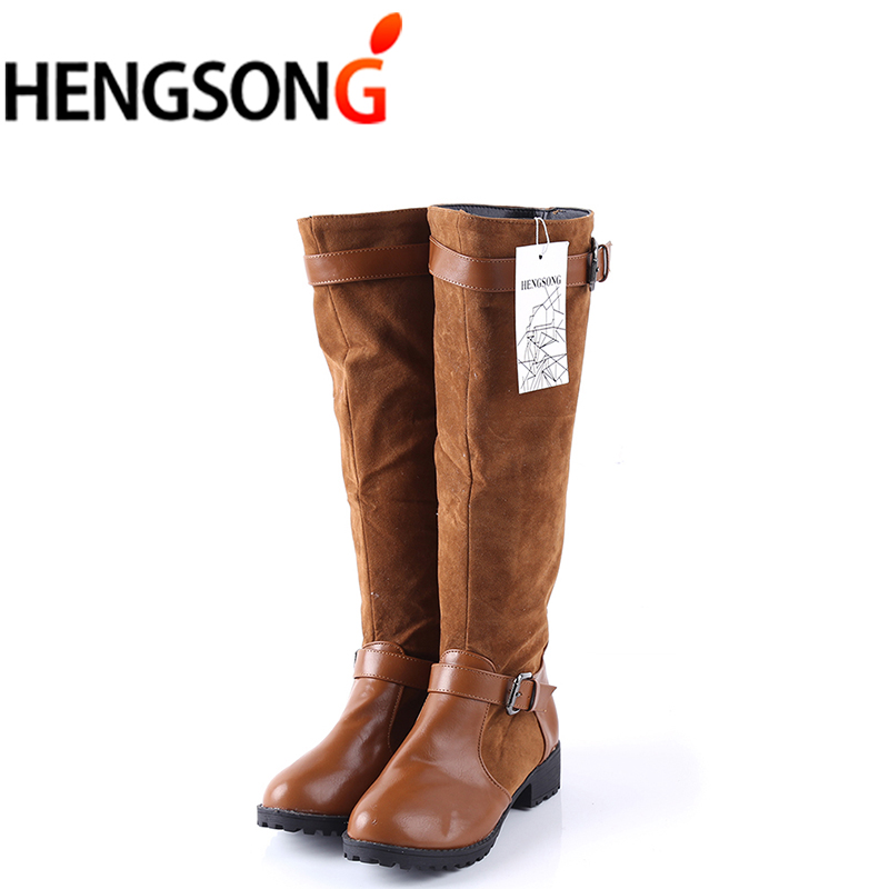 New Plus size 34-43 Women Boots Spring Autumn Long Knee Boots Sapatos Femininos Square High Heels Black Brown Hot Sales Shoes cresfimix sapatos femininos women cute black spring