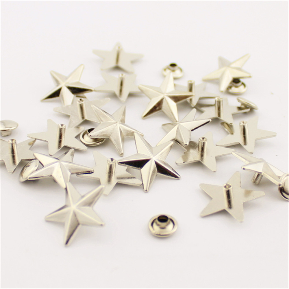 Silver, 10 Mm 50 Pcs Star Studs Metal Claw Beads Nailhead Punk Rivets with Spikes