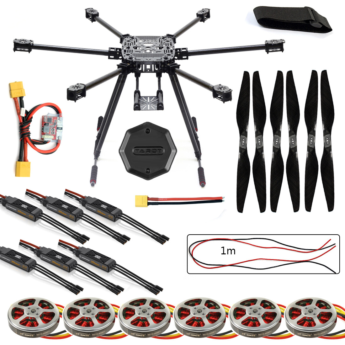 ZD850 Frame Kit with Landing Gear +Hub 350KV Brushless Motor 40A ESC 1555 Propellers RC DIY FPV Aircraft Hexacopter F19833-E zd850 full carbon fiber frame kit with unflodable landing gear foldable arm 6 axle hub set for diy fpv aircraft hexacopter