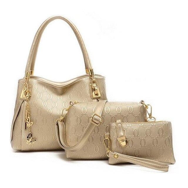 Novo 2015 mulheres bolsas PU bolsa sacos de mulheres mensageiro marca projeta saco sacos Bolsa + Messenger Bag + Bolsa 3 Conjuntos
