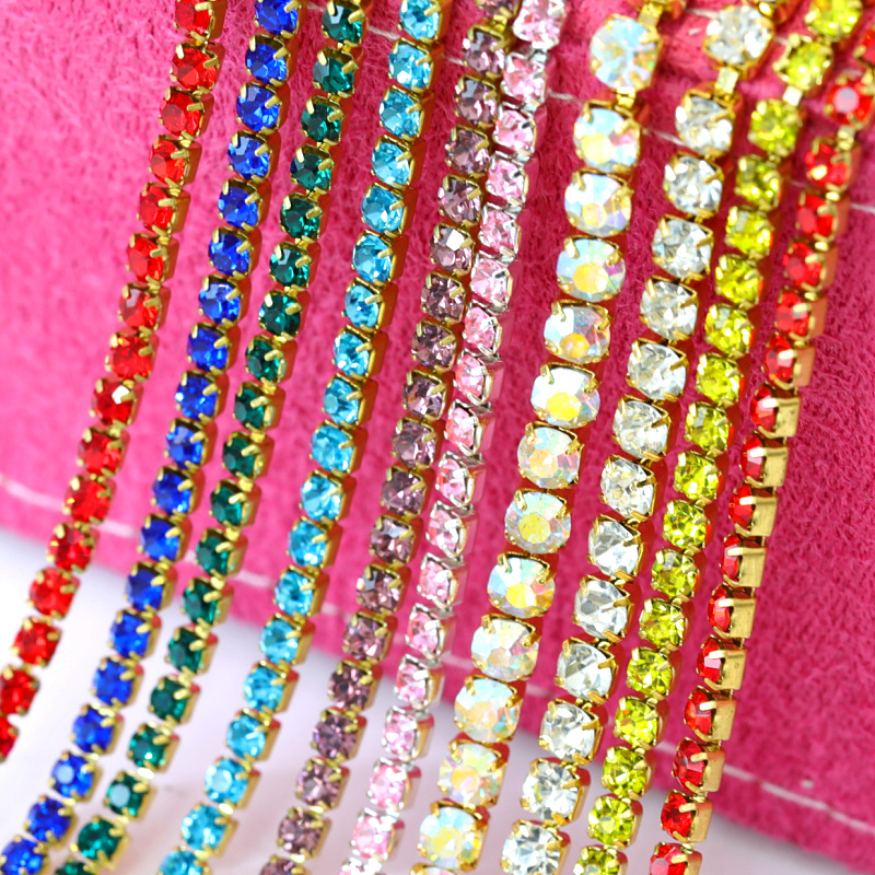 1 Yard  SS12 Multicolor Glass Rhinestone Cup Chain With Gold Base Close Rhinestone Chain Gold Base For Clothes Accessories B1502