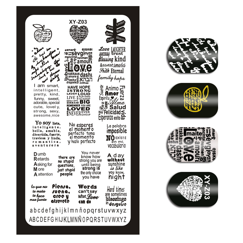 1 Piece Nail Art Image Stamp Stamping Plates English Letter Pattern Manicure Template Plates Diy Polish Stencil Nail Tools Xyz03 Latest Technology