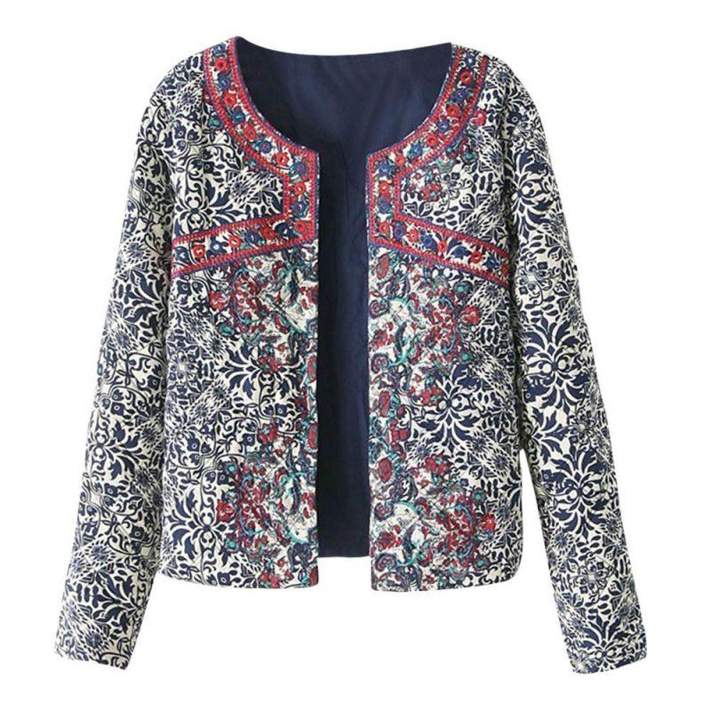 Women's   Jacket   print blue and white embroidered Women Coat Winter cotton O-Neck women   Basic     Jackets   coat Short Style