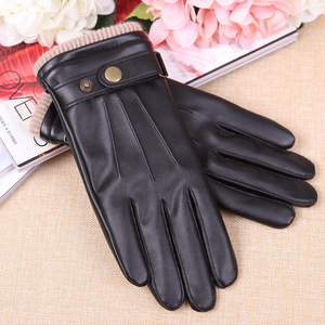 Image 3 - 2019 New Arrival Fall Mens Gloves Black Winter Warm Mittens Touch Screen Windproof Keep Warm Driving Male PU Leather Gloves