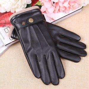 Image 3 - 2019 New Arrival Fall męskie rękawiczki czarne zimowe ciepłe rękawiczki z ekranem dotykowym wiatroszczelne utrzymuj ciepłe męskie rękawiczki ze skóry PU