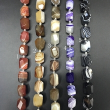 15-16pcs/strand,5 Color Choice Faceted Nuggets Natural Stripe Agates Loose Beads,Onxy Stone Gems Slice Pendants Jewelry Making