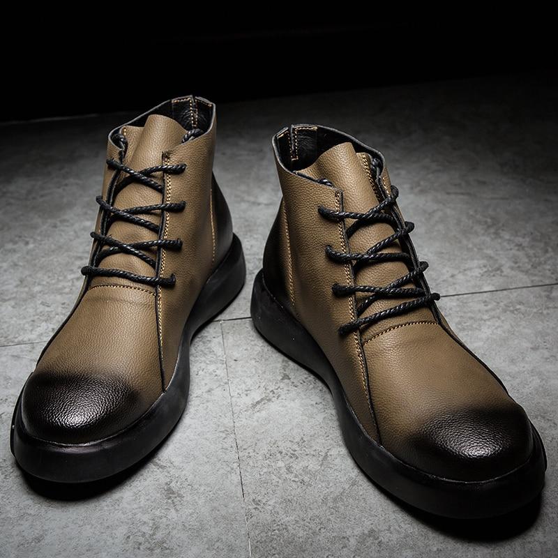 Hot Sale Boots Men High Top Warm Snow Botas Hombre Winter/autumn Plus Size 38-47 Casual Ankle Boots Fashion Business Men Shoes