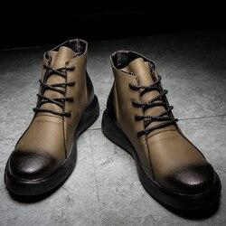 Venda quente Botas Hombre Men High Top Botas de Neve Quente de Inverno/outono Plus Size 38-47 Tornozelo Ocasional botas de Homens de Negócios de Moda Sapatos