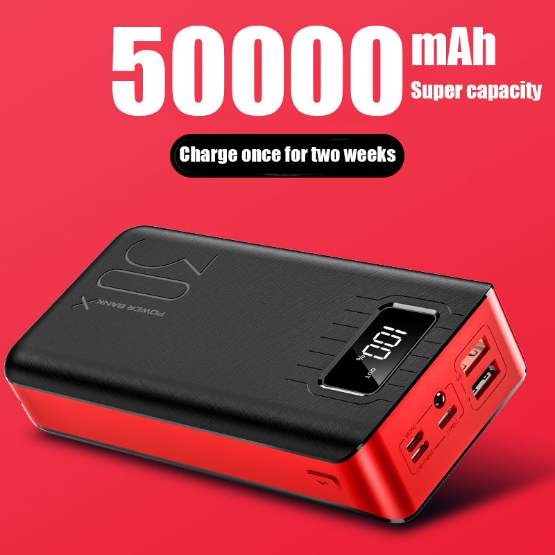PowerBank 50000mah External Battery PoverBank 2 USB LED Poverbank Type-c   Portable  Phone Charger For OnePlus Xiaomi