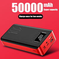 Power Bank 50000mah External Battery PoverBank 2 USB LED Powerbank Type c Portable Mobile phone Charger for One plus Xiaomi