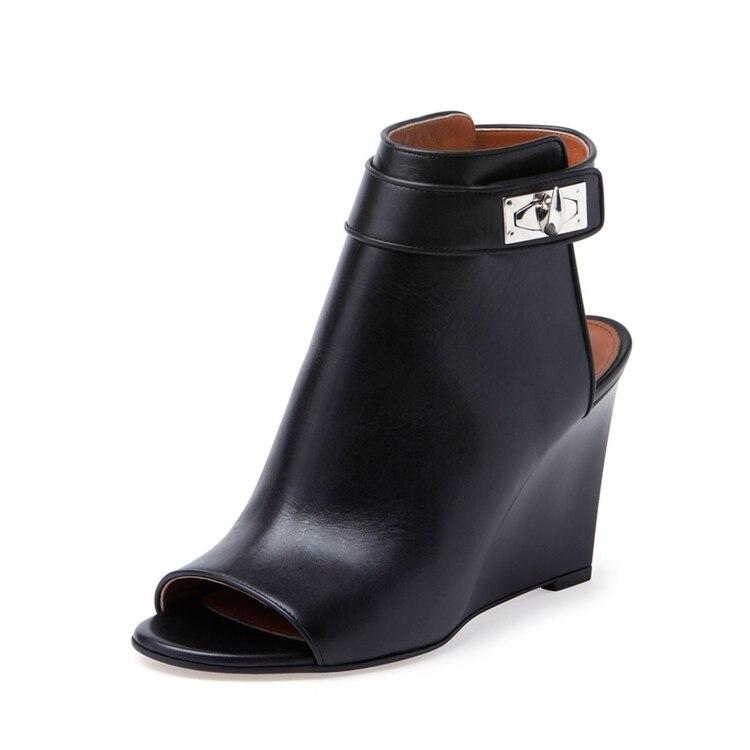 popular peep toe wedge boot buy cheap peep toe wedge boot