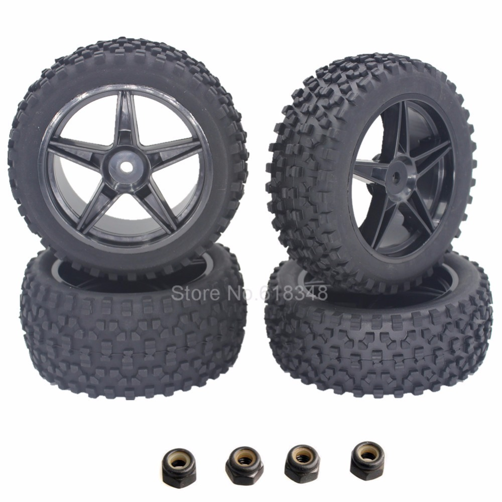 4pcs/Pack RC Tires & Wheel Rims 12mm Hex Foam Insert For 1/10 Buggy Car Fit HSP XSTR Warhead Redcat Tornado S30 Shockwave Nitro clutch bell double gears 16t 21t hsp 02023 1 10 nitro power rc car on off road buggy sonic xstr warhead fit redcat exceed