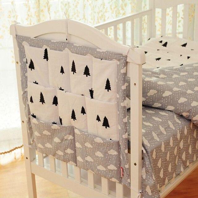 BIGGER SIZE!!!100% cotton Baby Bed Hanging Storage Bag 3 layer Toy Diaper Pocket Organizer Multifuction Bedding Set 55*60CM