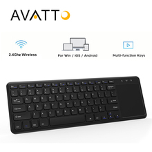 [AVATTO] NEW T18 Thin-size 2.4G Wireless Multimedia Keyboard with Touchpad for Windows IOS Samsung PC,Laptop,Desktop,Android Box