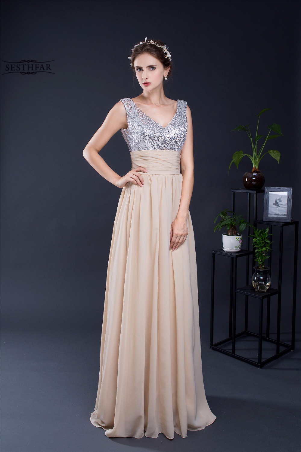 Compare prices on prom style bridesmaid dresses online shopping sesthfar 2017 new chiffon a line strapless sequins long bridesmaid dresses women prom dress style ombrellifo Images