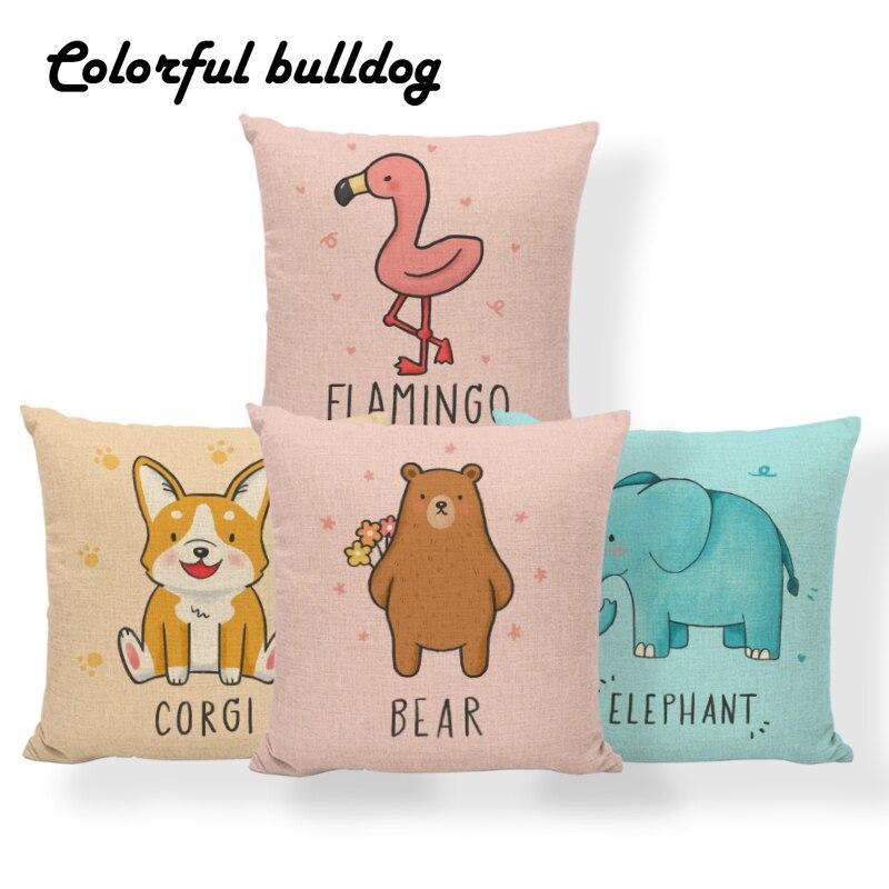 Elephant Alpaca Bear Cushion Flamingo Octopus Panda Pillow Case Horse Fox Giraffe Home Decoration Throw Pillow Cover 43Cm Burlap