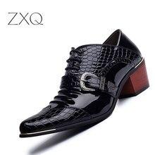 Британский Стиль Мужчины Лакированные Туфли Острым Носом Высота Увеличение Классический Джентльмен Oxforfd Мужская Кожаная Обувь