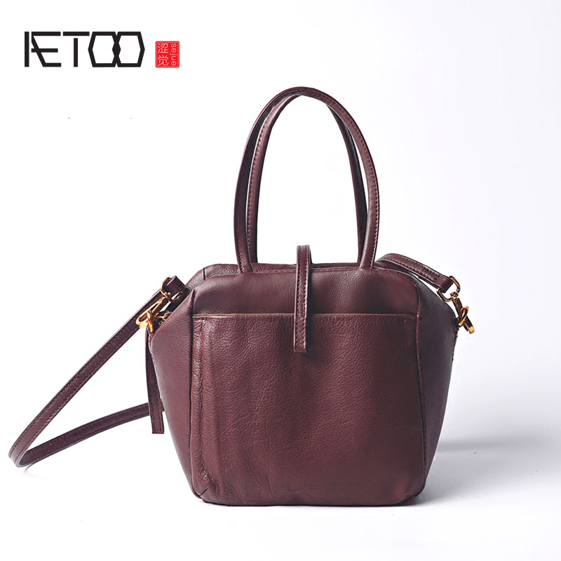 AETOO Leather box package Europe and the United States fashion tide retro shoulder Messenger head layer of leather handbag new f