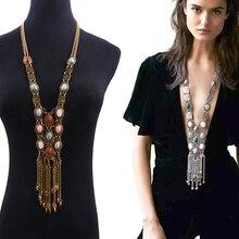 Новинка, богемное колье ZA, этнический натуральный камень, Воротник Макси, ожерелье с металлической кисточкой, длинная цепочка на свитер, Подвеска для женщин