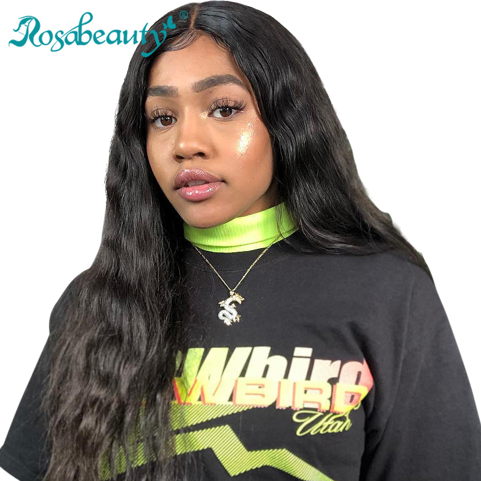 RosaBeauty 250 Density Body Wave Lace Front Human Hair Wig Pre Pucked Long Brazilian Remy Lace