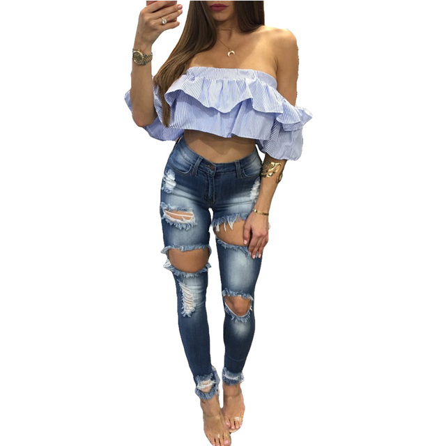 Red Rose Embroidery Details Wash Denim Jeans Big Size Ladies High Elastic  Destroyed Wash Denim Cut Out Ripped Pencil Jeans Pants efc708acf767