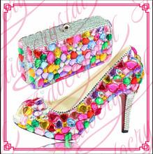 Aidocrystal handmade Latest Designs High Heels Ladies Shoes And Matching Bags Hot Italian Party Shoes And Bags