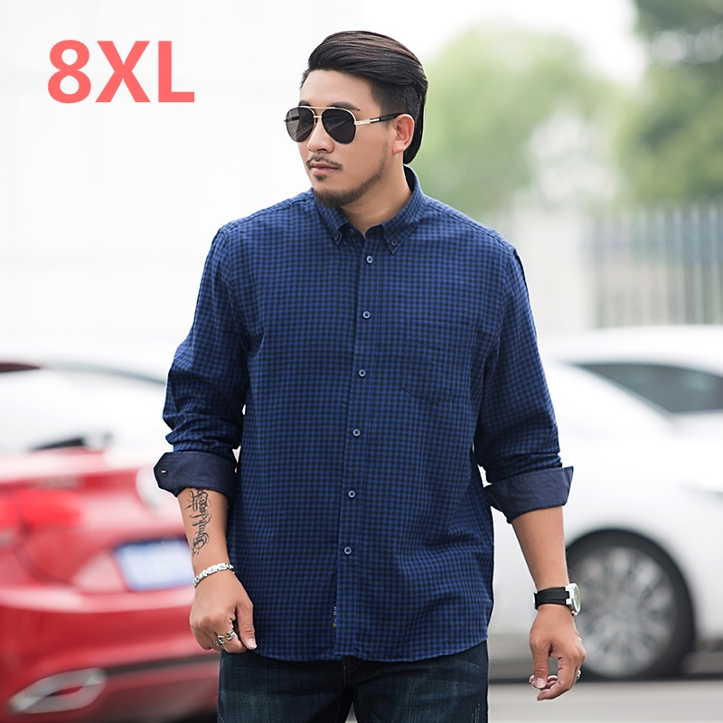 big size 8XL 7XL plaid Mens shirt Long Sleeve Shirt Mens Dress Shirts Brand Casual Fashion Business Style Shirts 100% Cotton
