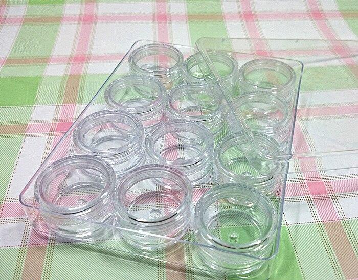 free shipping 5g/20g transparent ps plastic 12 grids catridge ornaments/cosmetic contact lenses/manicure storage box/ jinbei em 35x140 grids soft box