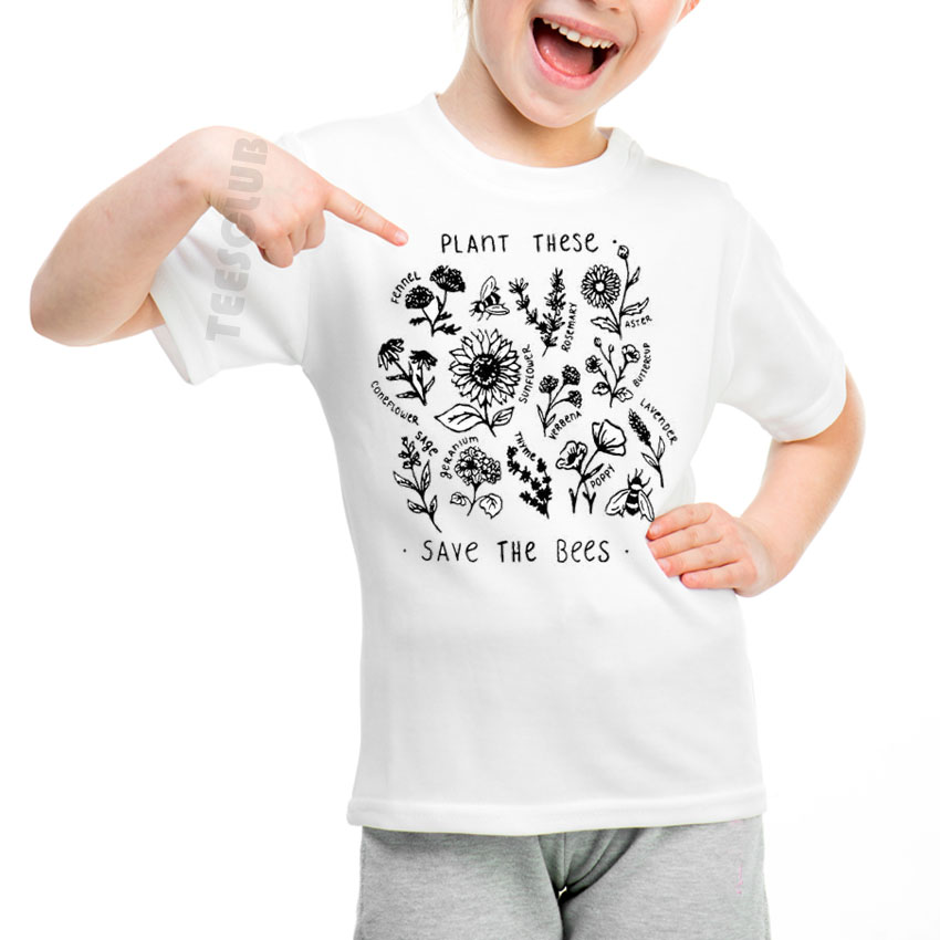 Children T-Shirt Short-Sleeve Bees-Print Girls Boys Summer The Save Cute White These