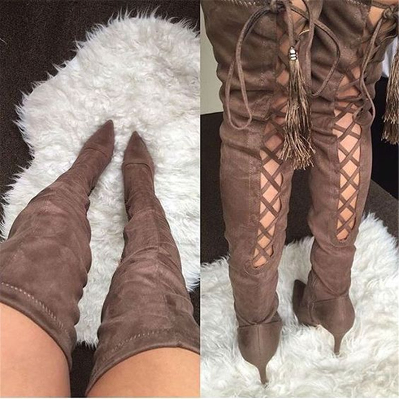 Sexy Black Purple Back Cross tied High Heels Shoes Women Pointy Toe Long Botas Mujer Runway Thigh High Over Knee Stiletto Boots - 2