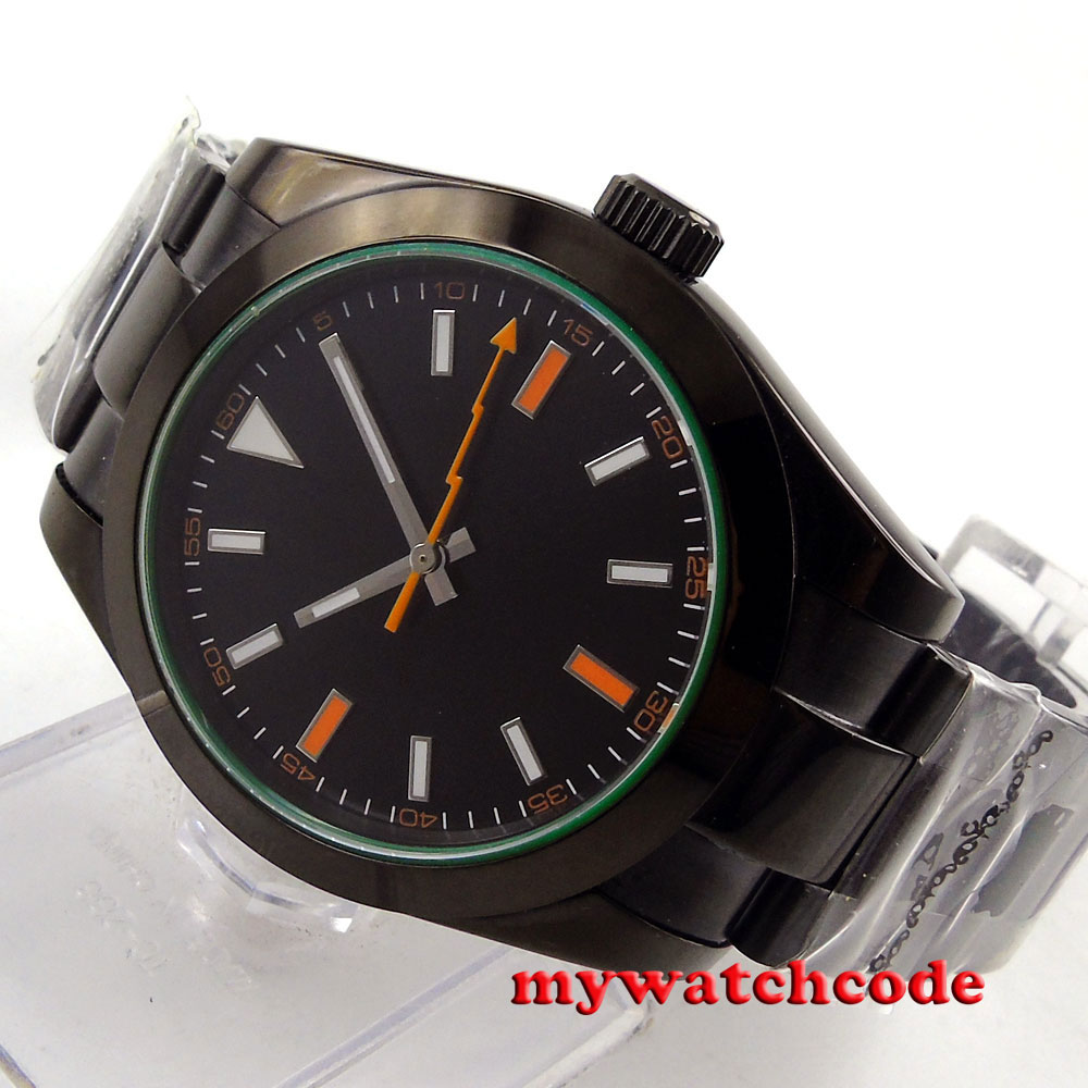 где купить 40mm parnis black dial orange marks PVD sapphire glass automatic mens watch P666 по лучшей цене