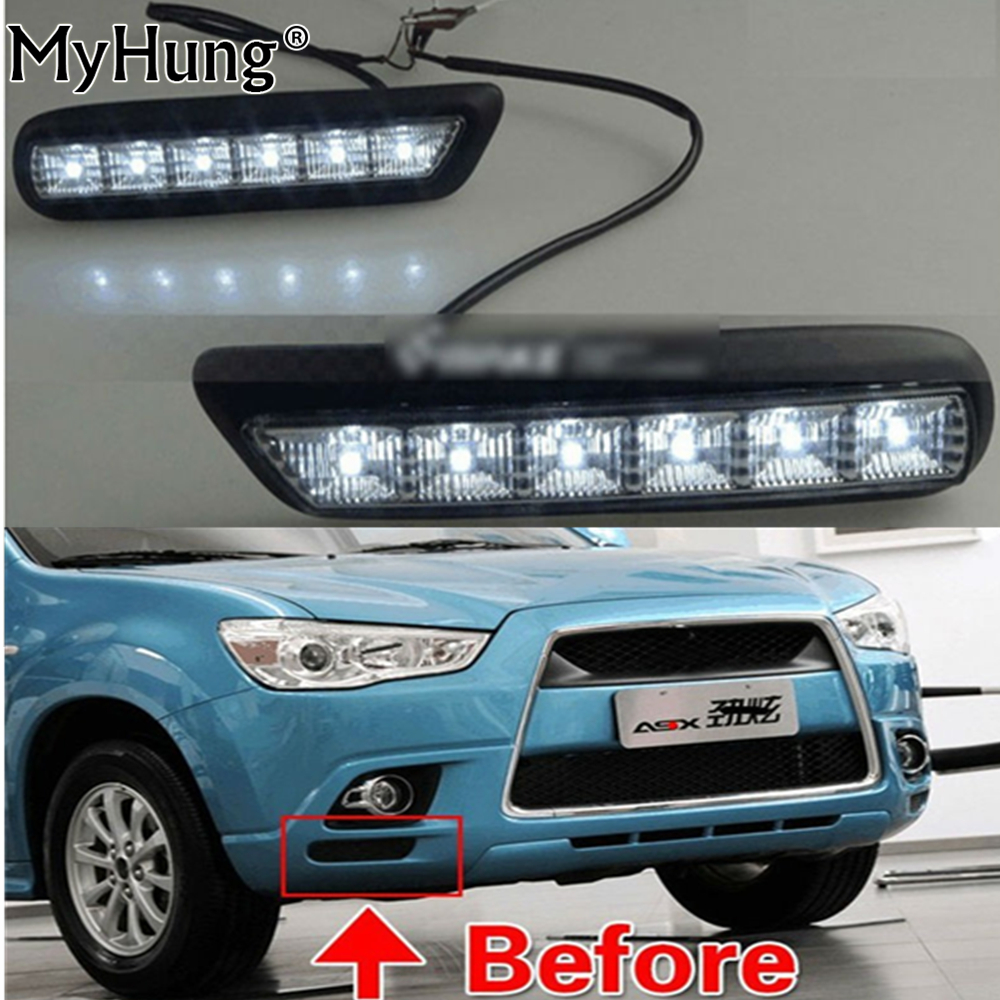 LED DRL led daytime running light for MITSUBISHI OUTLANDER SPORT RVR ASX 2010 2012 2pcs dar