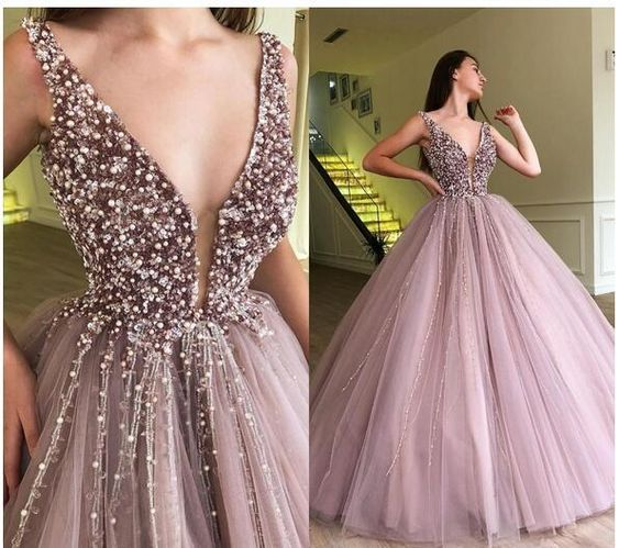vestido de formatura Fashionable Beaded Tulle   Prom     Dress   Long Sexy Deep V-neck Women Evening   Dresses