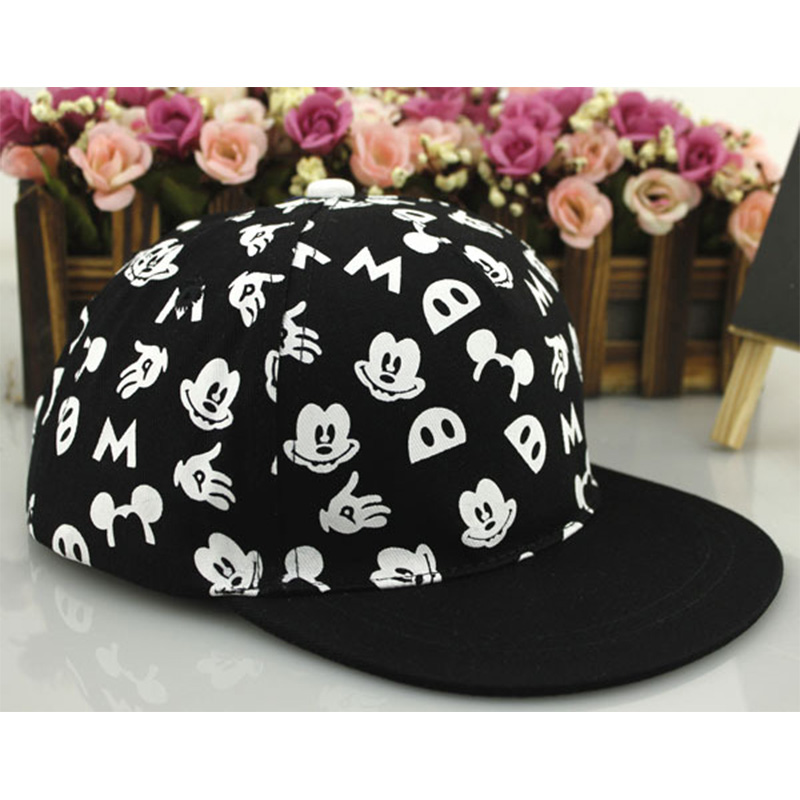 Children Cartoon Baseball Hat Mouse Mickey Kids Hat Boys And Girls Black White Adjustable Baseball Caps Outdoor Sunscreen Hat