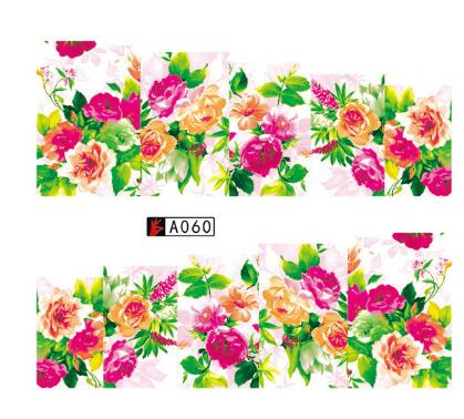 1Sheet Nail Art Flower Watermark Sticker Set Gel Polish Tips  DIY Water Transfer Stamping Full Wraps Floral Decal 1 sheet beautiful nail water transfer stickers flower art decal decoration manicure tip design diy nail art accessories xf1408