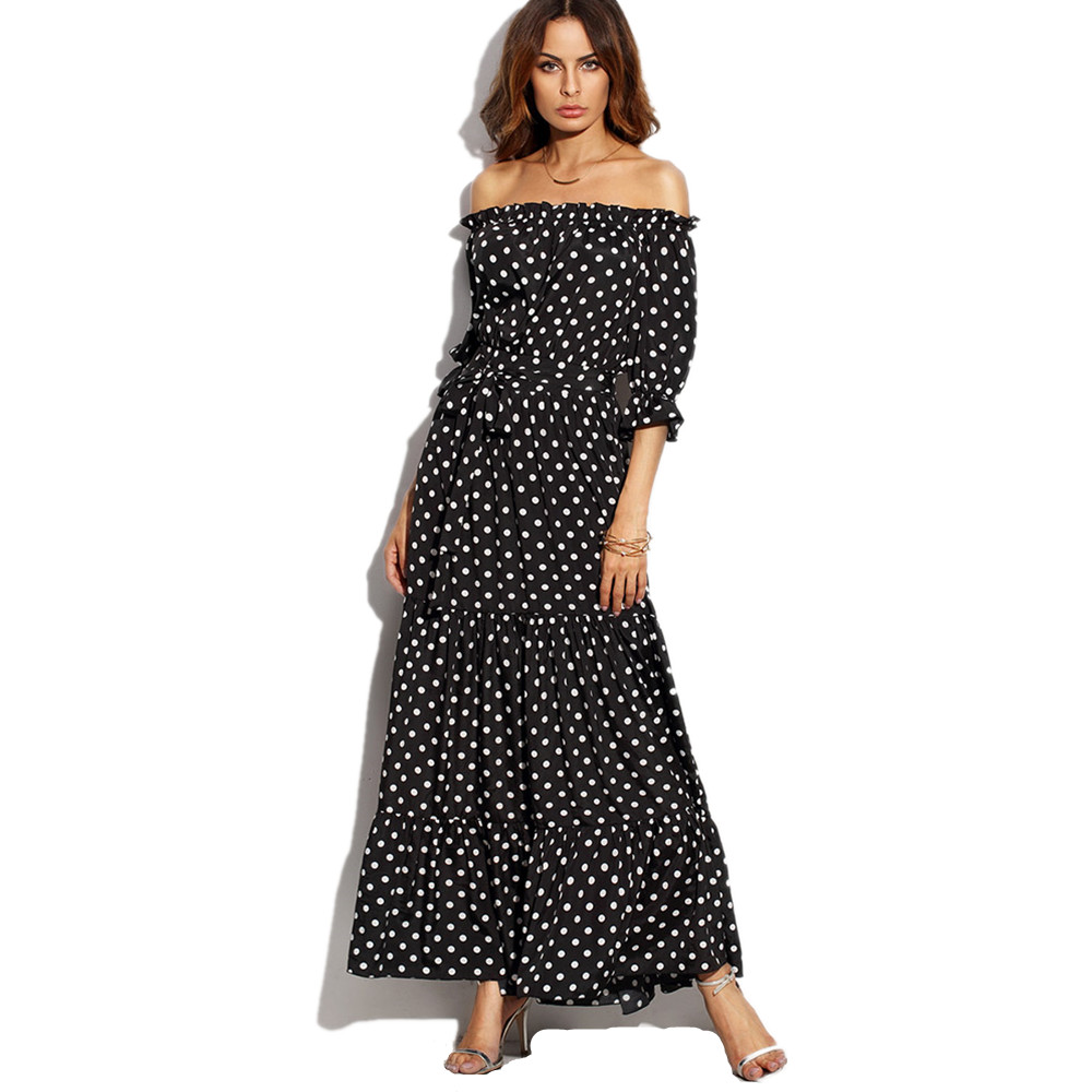 2018 New Fashion Off the Shoulder A Line Belted Dot Ruffles Slash Neck Tie Waist Beach Dress Three Quarter Sleeve Maxi Dress