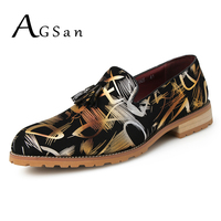 AGSan Tassel Dress Shoes Men Camouflage Gold Slip On Shoes Hombre Zapatos Silver Handmade Wedding Footwear