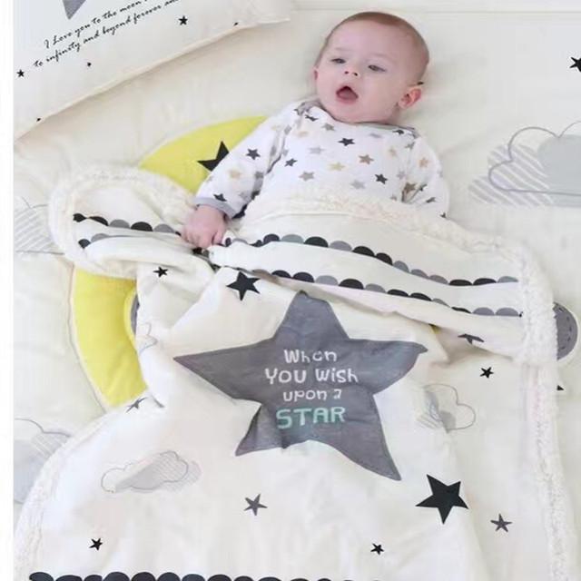 De alta Qualidade!! grosso Swaddling Novo 2014 do bebê Recém-nascido cobertor xadrez cobertor do bebê do Velo cobertor macio