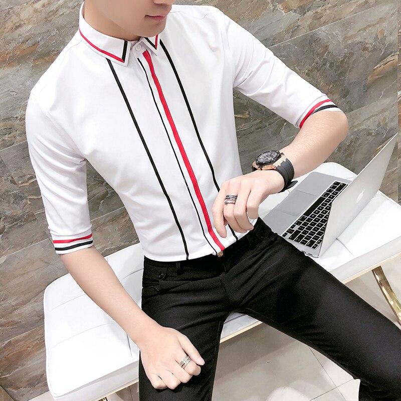 076acb932aa Contrast Stripe Shirt Men Summer Stylish For Men Ropa Para Hombre Camisa  Masculina Social Slim Fit Dress Wedding Shirt