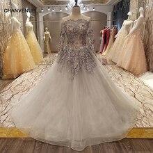 LS4567 elegante madre de los vestidos de novia vestido de las mujeres de fiesta de la boda de manga larga fuera del hombro vestido de noche largo gris