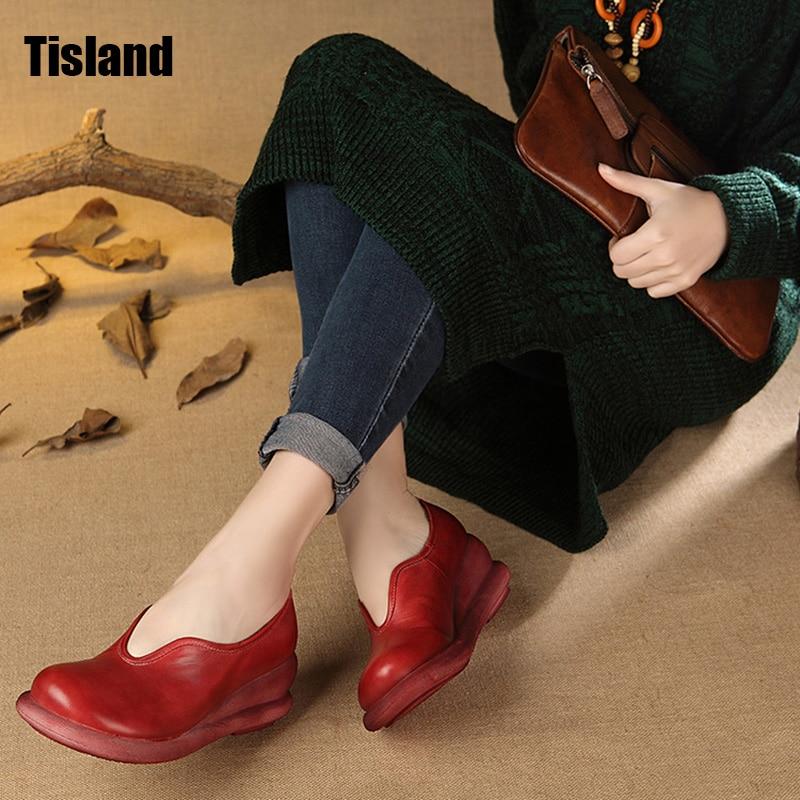 2017 Women Shoes Slip on Woman Genuine Leather Shoes Fashion Handmade Leather Loafers Female Casual Shoes Women Flat Wedage Shoe цена и фото