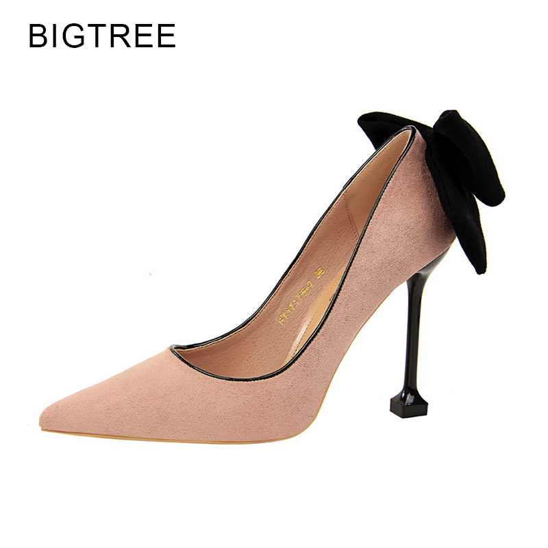 цены на BigTree Mary Janes Black Thin Heels Women Pumps Pink Sweet Butterfly knot High Heels Red Party Shoes Pointed Toe Female Zapatos в интернет-магазинах