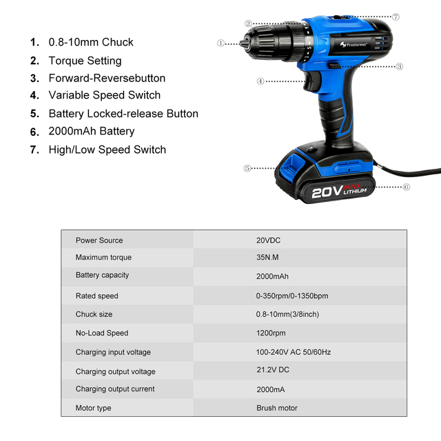 PROSTORMER 20V Cordless Impact Drill Cordless Screwdriver Optional Two-Piece Set 2000mAh Wireless Rechargeable Screwdriver 1