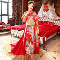 High Quality 2018 Red Traditional Chinese Wedding Dress Cheongsam Long Qipao Dresses Retro Dressing Gown Bride Traditions