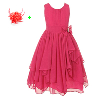 Kids Party Gown Teenage Chiffon Tulle Flower Girl Dress Yellow Red Hot Pink Children 3 To