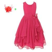 ילדים המפלגה שמלה בגיל ההתבגרות שמלת ילדה פרח טול שיפון צהוב אדום חם ורוד ילדי שמלות ערב בנות 3 עד 12 שנים