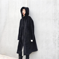 SuperAen Thick Warm Long Women Coat Velvet Hooded Solid Color Casual Jacket Female New Winter Zipper